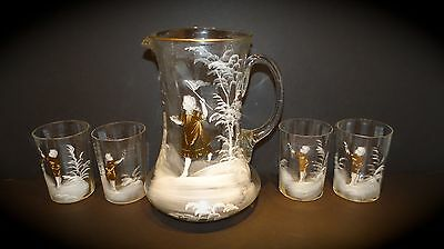Antique Hand Blown MARY GREGORY Decorated Water Juice Pitcher & 4 Glasses