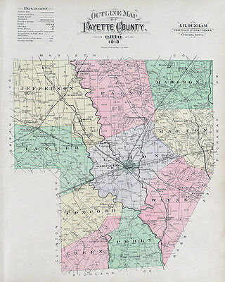 1913 Map of Fayette County Ohio