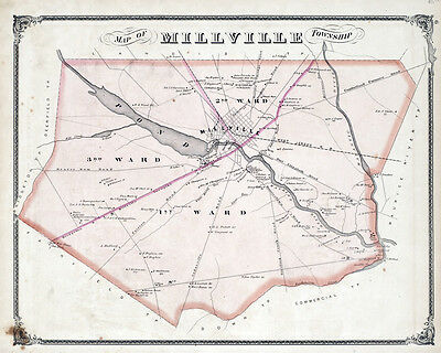 1876 Map of Millville Township Cumberland County New Jersey