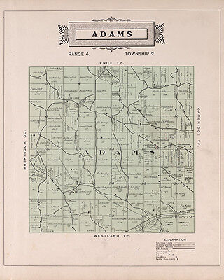 1902 Map of Adams Township Guernsey County Ohio