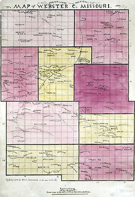 1877 Farm Line Map of Webster County Missouri