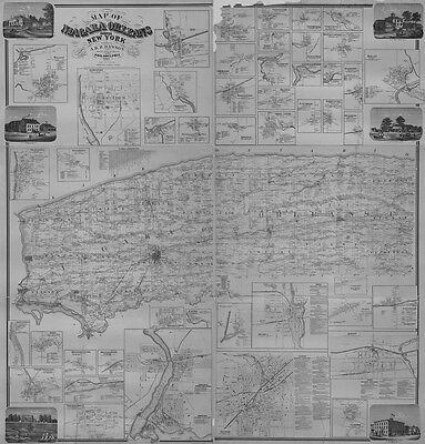 1860 Farm Line Map of Niagara & Orleans County NY Lockport