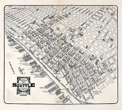 1903 Map of Seattle Washington Business District CANVAS PRINT