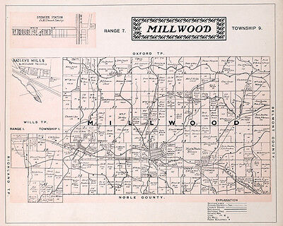 1902 Map of Millwood Township Guernsey County Ohio