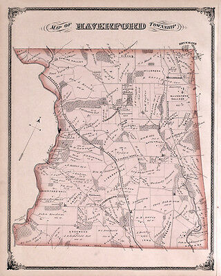 1875 Map of Haverford Township Delaware County Pennsylvania