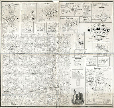 1866 Farm Line Map of Hendricks County Indiana Danville