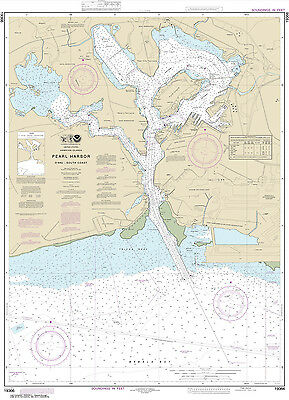 2015 Nautical Map of Pearl Harbor O'ahu South Coast Hawaii