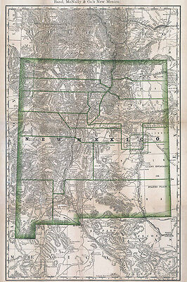 1879 Map of New Mexico showing stage lines and counties