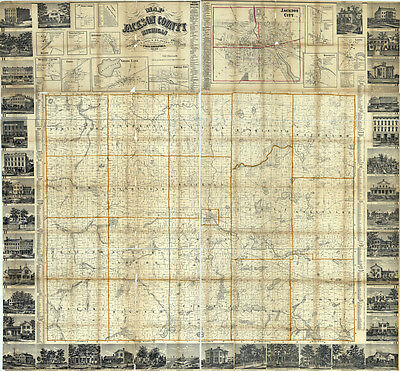 1858 Farm Line Map of Jackson County Michigan