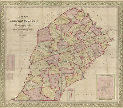 1847 Map of Chester County PA from original surveys genealogy historic places