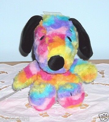 "NEW w/TAGS ~ HTF SNOOPY 6.5"" RAINBOW TIE DYE EASTER PLUSH TOY DOLL ~ LAST ONE!!"