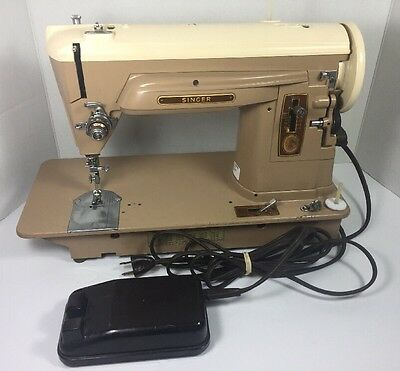 "Vintage Singer 404 Slant Needle Sewing Machine Red ""S"" With Peddle"
