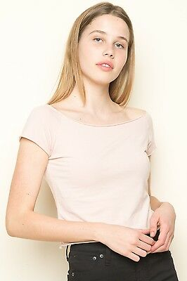 974bbfddaa04a1 BRANDY MELVILLE PINK cropped off shoulder cotton rin top S M NWT ...