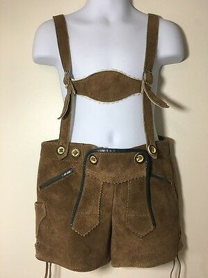 Lederhosen Boy Short German Oktoberfest Size 86 Leather Pants Suspender 18 24 mo