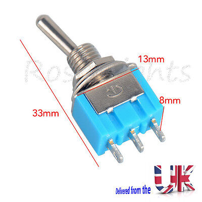 Miniature Toggle Switch 3 Pin ON-OFF-ON SPDT 6A 125VAC/3A 250VAC Mini Switches