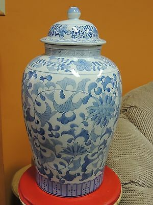 """Chinese 17"""" Vase / Jar w/ lid Qing Qianlong drilled for lamp Antique 19th / 20th"""