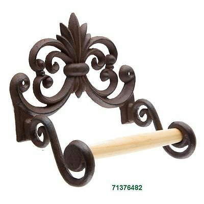 Antique Rust Flourish Metal Toilet Paper Holder