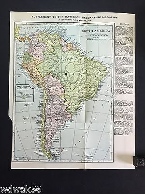 ORIGINAL 1906-08 August National Geographic Magazine MAP SUP: SOUTH AMERICA