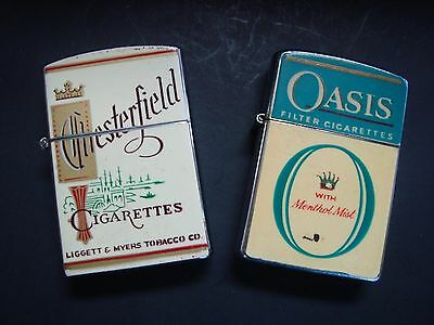 Lot of 2 Vintage CONTINENTAL Lighters.1- Chesterfield & 1-Oasis Cigarettes.