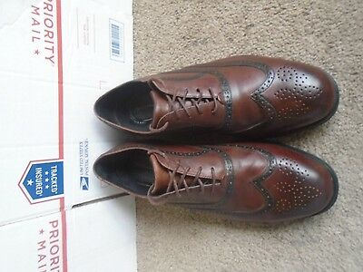 Rockport brown leather wing tip men's dress shoes size 8W