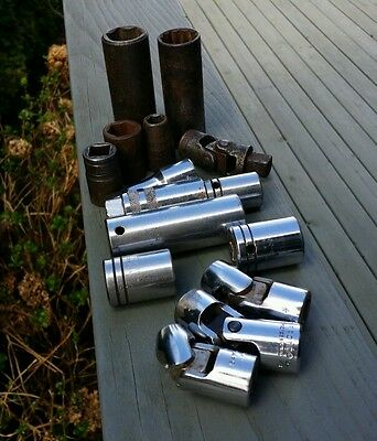 "Lot Proto 1/2"" Drive Sockets Etc 7/8"" Deep Well Impact Socket Swivel Sockets Etc"