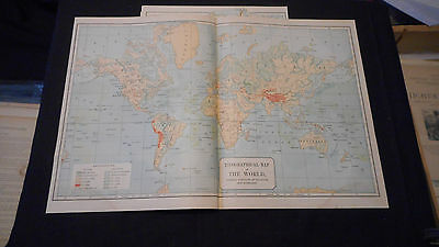 1887 Butler Map Topographical The World   Color Map  17 1/2 X 11 3/4