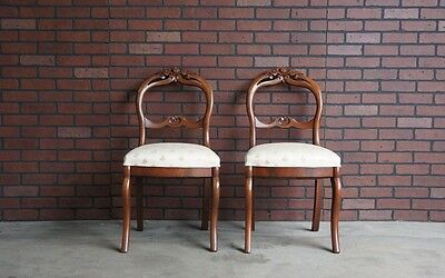 Chairs /Antique Rose Carved Victorian Balloon Chairs /Vanity/Desk Chairs ~ Pair