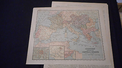 1881 Appletons Southern Central Europe Color Map  12 X 9 1/2 See Others In Store
