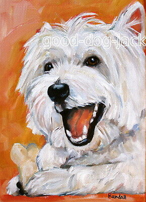 """West Highland Terrier WESTIE MATTED PRINT Painting """"AFTERNOON SNACK"""" Dog RANDALL"""