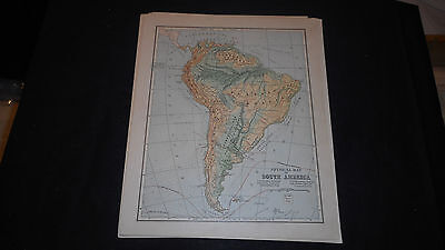 1881 Appletons South  America Physical Color Map  12 X 9 1/2