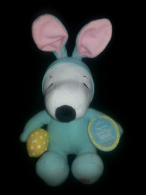 "Hallmark 9 1/2"" Peanuts Snoopy Schultz Plush Easter Giggle Sound Bunny Ears NWT"