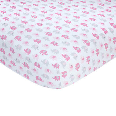 Carter's Pink and Grey Elephant Print Cotton Crib Sheet
