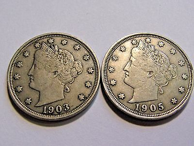 2 Liberty V Nickels 1903 1905 EF XF Free Shipping