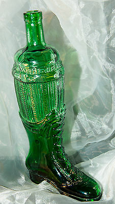 """Victorian Style Shoe Boot~Green Glass Bottle~Decanter~12"""" Tall~2.2 lbs."""