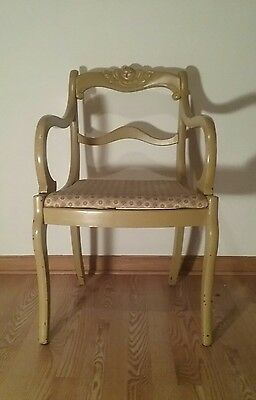 Vintage antique french country style chair. wood. yellow. Solid wood old floral