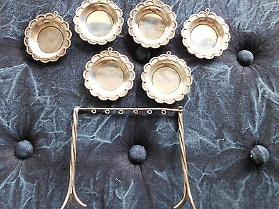 Vintage Mexican Sterling Silver Plata 925 set 6 butter dishes 4.7oz w/swing