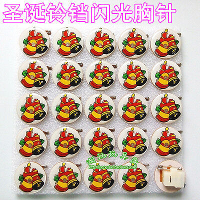 Lot Christmas bell Flashing LED Light Up Badge/Brooch Pins Party Favors Q111