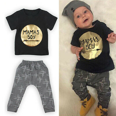 Newborn Toddler Infant Kids Baby Boy Clothes T-shirt Tops+Pants Outfits Set US