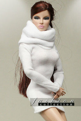 """The Vogue White High-necked woolen dress For 12"""" Integrity toys FR2 & PP Dolls"""