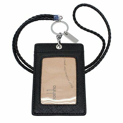 Boshiho Vertical Style Leather ID Card Badge Holder with Keychain Lanyard Black