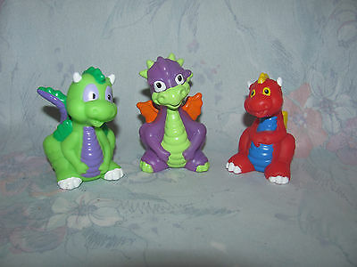 Fisher Price Little People Baby Dragon Lot of 3 - Purple, Red, Green - Castle