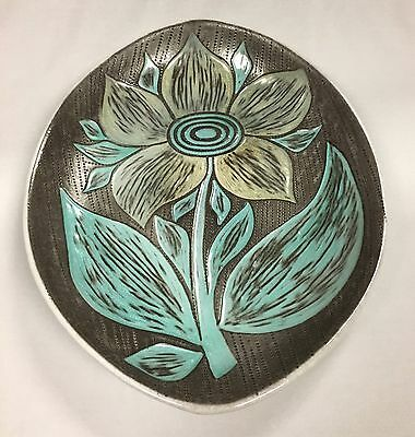 Rare Vintage Upsala Ekeby Signed Mari Simmulson Floral Plate Made in Sweden