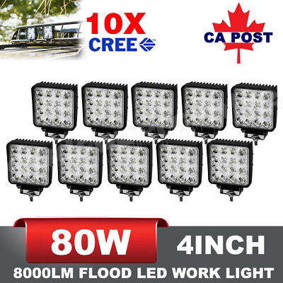 10x 80W 4'' inch CREE LED Work Light Bar Flood Lamp Off road 4×4 Atv Truck