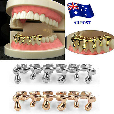 Custom Fit 14k Gold Plated Hip Hop Teeth Drip Grillz Caps Lower Bottom Grill  MN