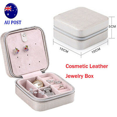 Cosmetic Leather Jewelry Box Necklace Ring Travel Storage Case Organizer MN