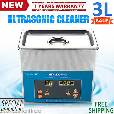 3L Ultrasonic Cleaner Heated Heater w/Timer Industry Dental Lab Digital Display