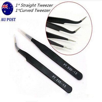 2pcs Eyelash Extension Tweezers Straight & Curved Vetus Black Eyelash Tweezer MN
