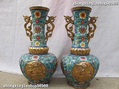 China Royal 100% bronze handwork cloisonne Two Dragon Beast vase pair