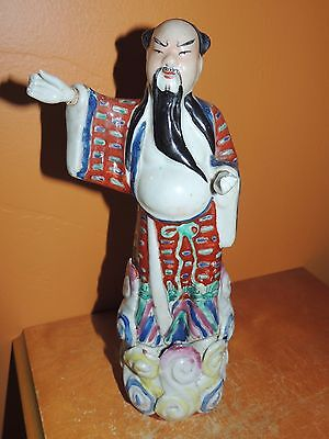 """Chinese Famille Rose Man 9.75"""" w/hands Qing Early Republic Antique Vintage China"""