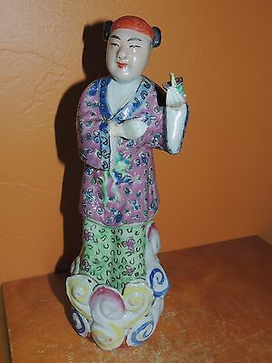 """Chinese Famille Rose Man 10"""" w/ hands Qing Early Republic Antique Vintage China"""